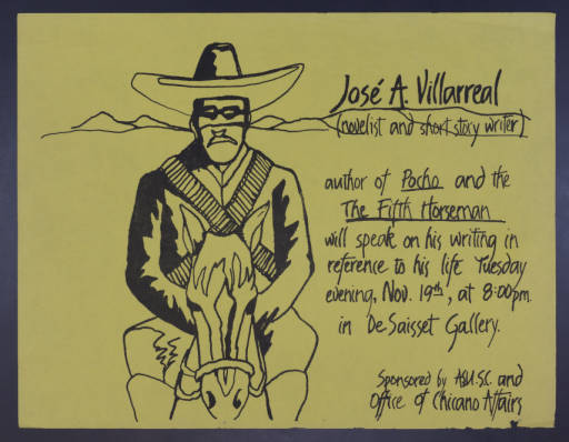 Click the image to view selected digital versions of items from the José Antonio Villarreal Papers.
