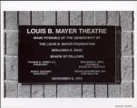 Dedication Sign in Mayer Theatre