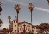 Mission Church and Palm Trees