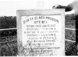 Engraved base of Cross erected at first site of Mission Santa Clara