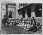 Poet Henry Meade Bland teaching class outside San Jose State Teachers College, 1929