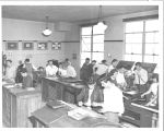 G. Burchard photo of SJSC students setting type, circa 1950s