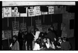 Environmental protest signs at San Jose State Student Union, 1970