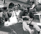 Car float carrying Miss Gay San Jose 1978 and another Gay Pride Parade participant
