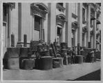 Confiscated stills in front of the San Jose courthouse, circa 1925
