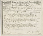State and County taxes receipt, 1878