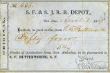 S.F & S.J.R.R. Depot (San Jose) shipping receipt, April 1, 1869