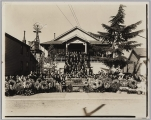 Funeral party in front of old Japanese Buddhist Temple, circa 1930