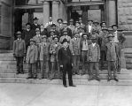 Postal workers on steps of the San Jose main office, circa 1900-1920