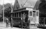 Trolley Car 110 in front of Trinity Church, 1913