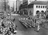 American Legion Red Devils Band on parade, circa 1930-1940