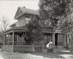 Judge and Mrs. Welch in a Winton Automobile in front of their home, circa 1898-1901