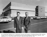 Bill Eitel and Jack Mccullough in front of new San Carlos plant, circa 1950-1960