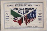 Souvenir program, Grand reception and dance under the auspices of Loyal Italo American Club, 1919