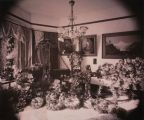 Casket of Frederick Franck in the parlor of the Franck Mansion at the corner of Washington &...