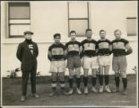 5 rugby players and coach